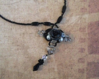 Black Noir Rose Necklace