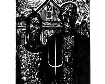 Miniature Version of Grant Wood's - American gothic * Original Artwork *