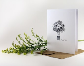 Hand Drawn Thank You Cards- set of 8, floral greeting card