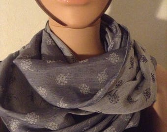 Unisex infinity scarf double sided blue jean denim Japanese satin