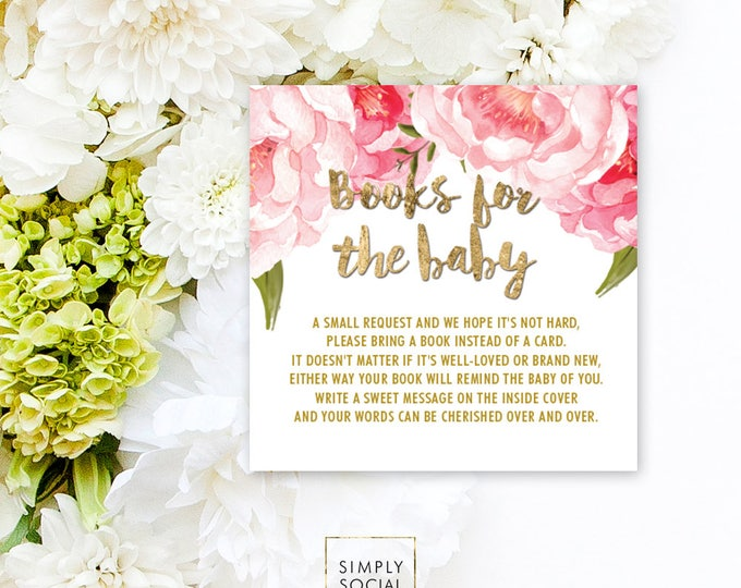 INSTANT DOWNLOAD Pink Floral Baby Shower Bring a Book Instead of a Card insert Faux Gold Foil Boho Peony Ranunculus Watercolor PRINTABLE