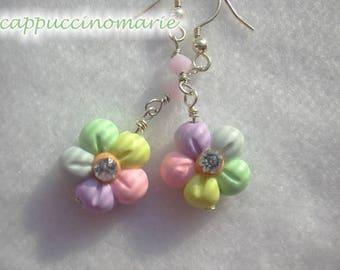 Pastel Rainbow flowers - polymer clay, crystal, sterling silver dangle earrings