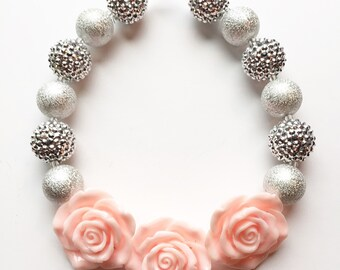 Pink and silver chunky bubble gum necklace, bubble gum necklace, chunky bead necklace, photo prop necklace, flower girls necklace,