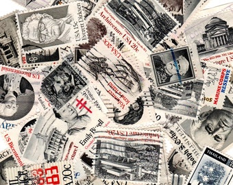 40 Black and White Vintage Postage Stamps