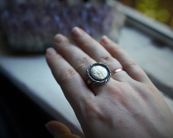 Double Moon Goddess Sterling Silver Ring