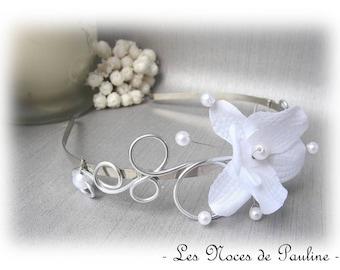 White Orchid 'Les Volutes' bridal headband