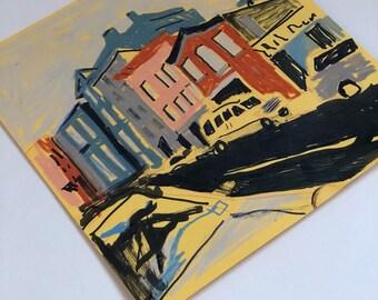 Original Art: Street in Brooklyn, NY Illustration