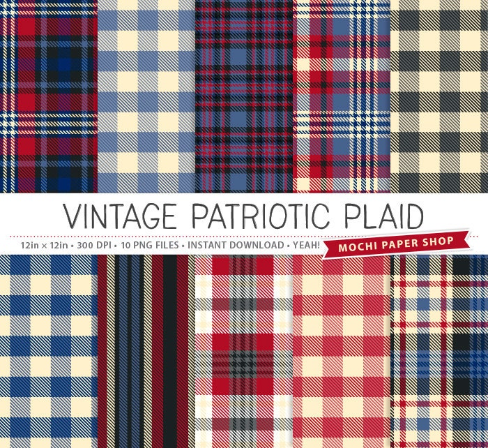 Vintage Patriotic Plaid Digital Paper Red White Blue Plaid
