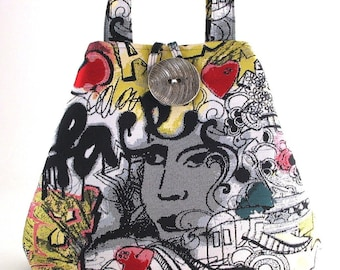 graffiti art bag, tote bag , shoulder tote bag, hobo bag ,womens purse, black handbag, diaper bag, shoulder bag, urban bag, street art
