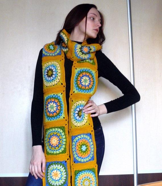 Extra langer Schal Oversized Schal wickeln häkeln Oma Quadrat