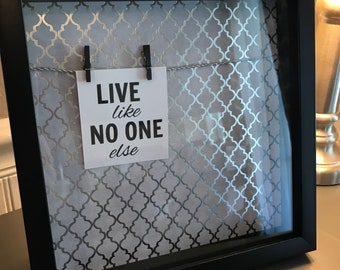 Live Like No One Else Cut Up Credit Card Shadow Box Frame Visual Reminder / Motivational Tool / Display Debt Free Dave Ramsey