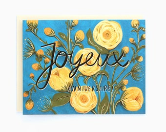 Joyeux Anniversaire! - Peonies French birthday greeting card - flowers, yellow peonies, blue turquoise / BIR-PEONIES-FRENCH