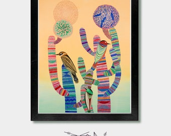 Mexican Folk Art - Sonoran Sunset - Cactus Art, Southwestern Decor, Cactus Print , Desert, Southwest, Cactus Art, Desert Art, Birds Cactus