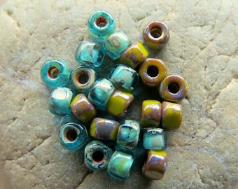 NEW Matubo EARTHY MIX No. 3 .  Czech Tri cut Picasso Seed Beads . size 6/0 . (50 beads)