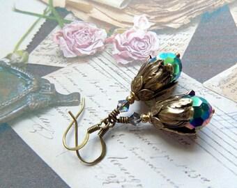Vitrail Crystal  Drop Earrings, Vintage Style Earrings, Crystal Dangle Earrings, Victorian Style Earrings, Tulip Earrings, Brass Earrings