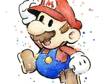 Mario Portrait Watercolor Art Print, Mario Print, Mario Watercolor, Geek Art, Videogame Nintendo Painting, Supermario Decor