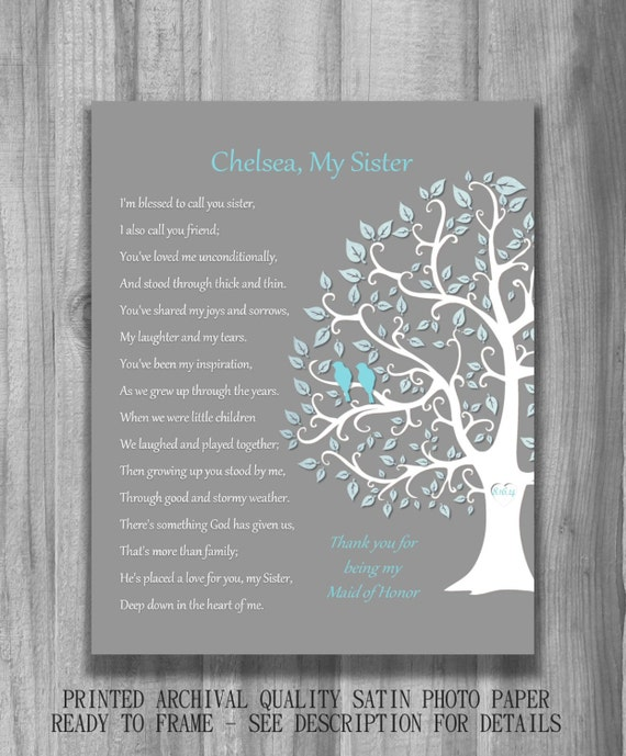 SISTER GIFT Bridesmaid Maid Of Honor Personalized Art Print
