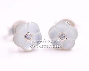 Jewelry Earrings S925 Sterling Silver Luminous Flora,Mother of Pearl Stud Earrings For Women Jewelry