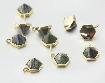 Serpentine Gemstone Pendant . Jewelry Craft Supplies . Polished Gold Plated over Brass  / 2 Pcs - DG052-PG-SPT