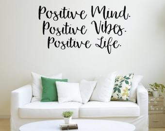 Positive Mind, Positive Vibes, Positive Life // Good Vibes Only // Positive Quotes // Motivational Wall Art // Inspirational Art Positivity