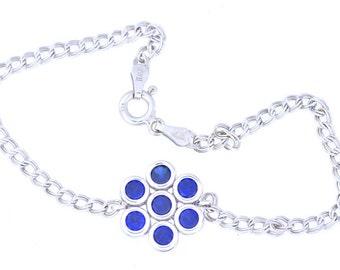 1.75 Ct Blue Sapphire Bezel Bracelet .925 Sterling Silver White Gold Quality