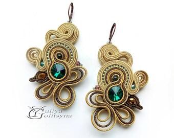 Soutache Earrings gold tone Statement earrings jewelry Elegant earrings Green crystal jewelry Gold tone soutache