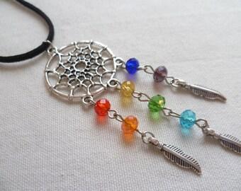 Chakra dream catcher necklace,dreamcatcher necklace,handmade,chakra jewellery,dream catcher jewelry,buddhist jewelry,gift,spiritual,boho
