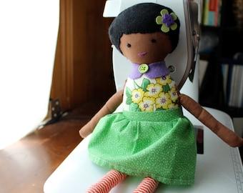 "Doll, handmade doll, african american handmade doll, Best Buddy Girl Doll ""Petunia"" best friend doll for a girl"