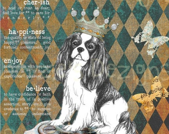 Cavalier King Charles Spaniel/Collage/Photo/Vintage/Print/Card/Whimsical/Crown