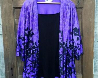 Vintage 70's Purple Floral Silky Polyester Kimono Top One Size