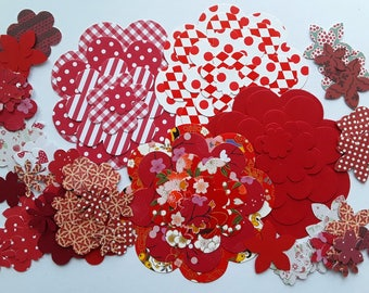 100 cuts vary in shades of red paper flowers