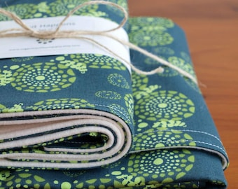 SALE; Modern Baby Blanket and Burp Cloth Gift; Handmade Green, Navy Receiving Blanket, Burp Pads for Baby Boy or Baby Girl;EYES of the WORLD