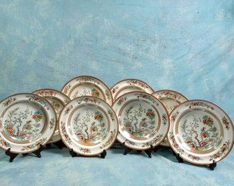 ANTIQUE 1860 COPELAND Indian India Tree Green Rust Soup Plates SET 8 Victorian