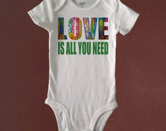 LOVE is ALL You NEED, Bodysuit or Toddler Tee, Baby Shower, Birthday, Gift, Beachy Baby Shop, Custom Made to Order