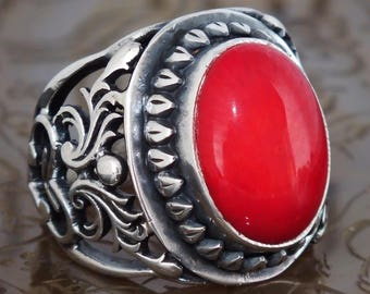Mens Ring Sterling Silver with Coral - unique piece of mens jewelry