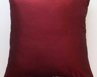 Barguandy  dupioni silk  . Burgandy  luxury silk throw   pillow. decorative deep red cushion cover. festive decor 18 inch. custom  made
