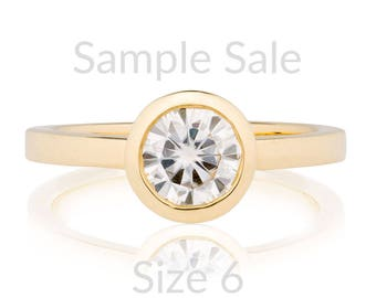 Size 6 Round Moissanite Engagement Wedding Ring Set, 14K Gold Moissanite Ring, Ready to Ship