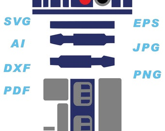 R2D2 SVG, ai, dxf, eps, jpg, png, pdf, cricut, instant download,