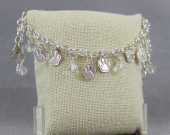 Paws & Crystals Bracelet - Silver