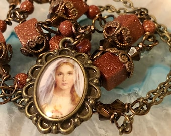 Blessed Mother Graceful Vintaj Religious Pendant Wire-Wrapped, Handcrafted