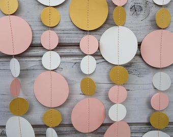 Pink and Gold paper garland, Pink wedding garland, Gold wedding garland, Pink baby shower, Gold bridal shower, Gold backdrops, Pink backdrop