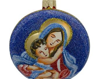 "3.25"" Virgin Mary Holding Jesus Glass Ball Christmas Ornament"