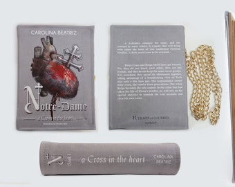 Leather Book Clutch Notre-Dame, a Cross in the heart by Carolina Beatriz | Handmade | Luxury Bag | Literary Vintage Book Purse Made to Order
