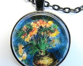 van Gogh FRITILLARIES in a COPPER VASE Necklace --  Vincent van Gogh still life,  Post-Impressionist art of the 1880s, Friendship token