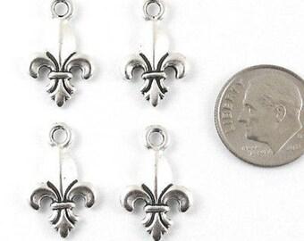 TierraCast Pewter Charms-Silver Fleur de Lis 13x19mm (4 Pcs)