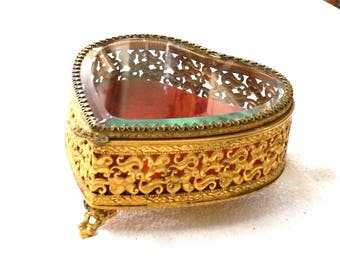 Stylebuilt Ormolu Heart Jewelry Casket Beveled Glass