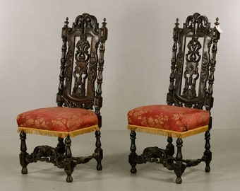 From Trump Estate   Pair Of 19th Century Spanish Baroque Style Side Chairs
