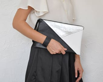 Leather Clutch, Leather Handbag, Evening Clutch, Geometric Clutch, Clutch
