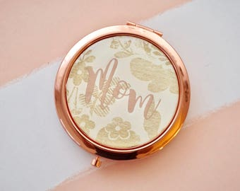 Personalized Compact Mirror - Mother's Day Gift | Gift for Mom | Christmas Gift for Mom | Rose Gold Compact Mirror | Gold Compact Mirror