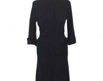 vintage 1940's knit dress / Kenneth Tischler / navy blue / sweater dress / women's vintage dress / tag size 12